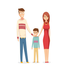 Happy young family dad mom and son together vector