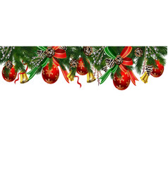 horizontal banner with christmas tree garland vector image