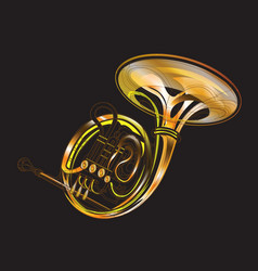 Horn gold brass instruments isolated vector