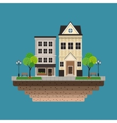 house building residential urban blue background vector image
