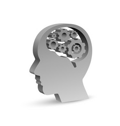 human head in form a symbol with gears in vector image