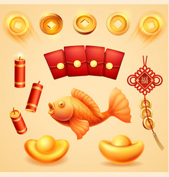 Isolated chinese new year holiday wedding items vector