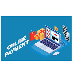 isometric concept of online payment vector image