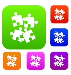 jigsaw puzzles set collection vector image