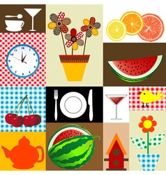 Kitchen table cloth design vector