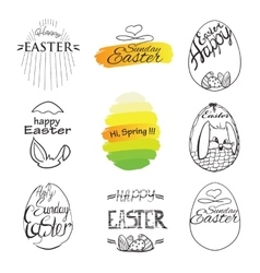 label elements Easter phrases Greeting card text vector image