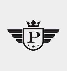 letter p shield wing vector image