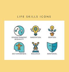 Life skills icons vector