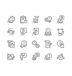 line time management icons vector image