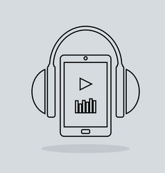 linear music icon headphones with player vector image