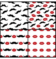 Lips and mustaches seamless patterns set vector