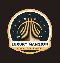 Luxury mansion vintage label vector