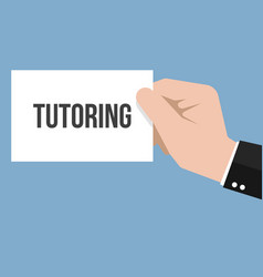 Man showing paper tutoring text vector