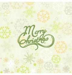Merry Christmas lettering over snowflakes vector image
