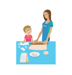 Mom and son cooking together cooking training vector
