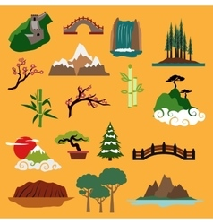 Nature landscape elements and buildings vector