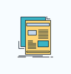 news newsletter newspaper media paper flat icon vector image