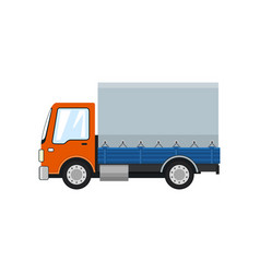 Orange small covered truck isolated vector