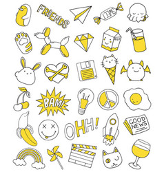Patch set on white background vector