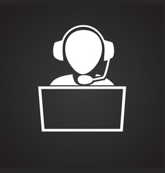 Person sitting at the computer on black backgroung vector