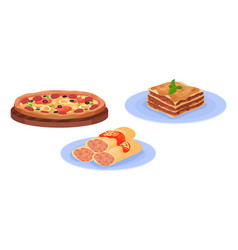 Pizza and lasagna pasta with as italian cuisine vector