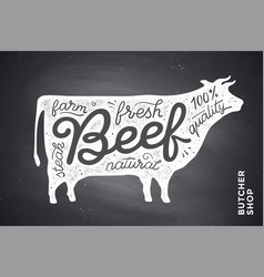 poster with red cow silhouette lettering vector image
