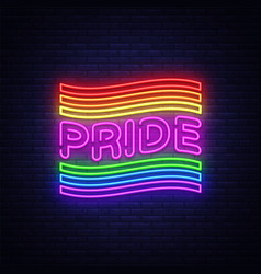 pride neon text design template lgbt neon vector image