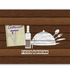 Restaurant menu food and drink white paint on wood vector