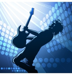 Rock guitar player on stage vector