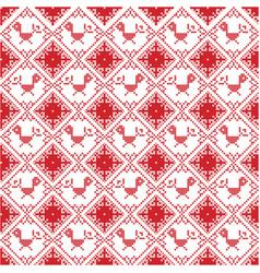 Scandinavian seamless cross stitch with robin vector