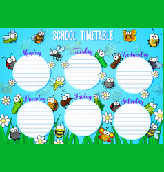 School timetable with cartoon bugs and insects vector