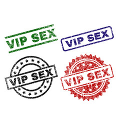 Scratched textured vip sex seal stamps vector