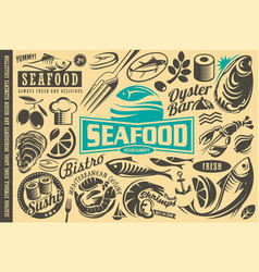 Seafood restaurant design elements collection vector