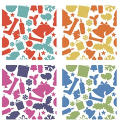 Seamless christmas patterns from various shapes vector image