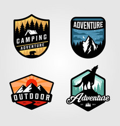 set adventure camping logo outdoor design vector image