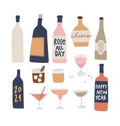 Set hand drawn alcoholic drinks cocktails with vector
