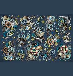 set marine nautical objects and symbols vector image