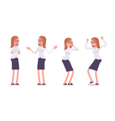 set of young female clerk showing negative vector image vector image