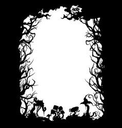 Sinister forest silhouette frame vector