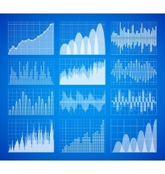 Statistic business data graphs charts set vector