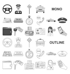 Taxi service monochrom icons in set collection for vector