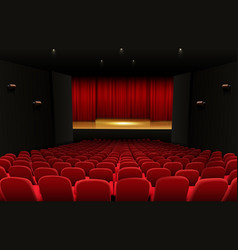 Theater stage with red curtains and seats vector