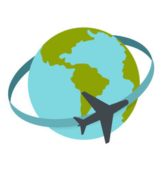 Travelling by plane around the world icon isolated vector