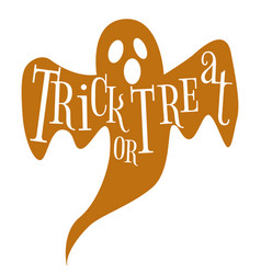 trick or treat happy halloween ghost lettering vector image