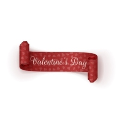 Valentines Day scroll Banner with Hearts Pattern vector image