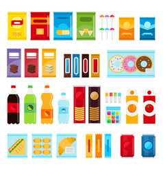 Vending machine product items set flat vector