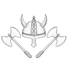 viking helmet and two bladed axes hand drawn vector image vector image