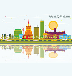 Warsaw skyline with color buildings blue sky vector