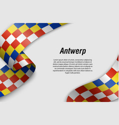 Waving ribbon or banner with flag province vector