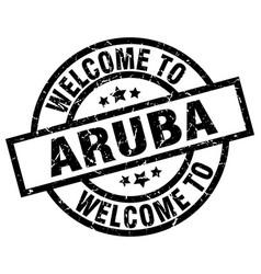 welcome to aruba black stamp vector image